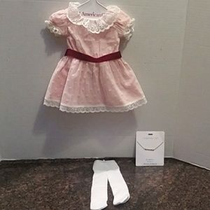 American Girl Dress and Tights plus Samantha Neckl